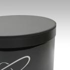 Boite ronde noire impression blanche