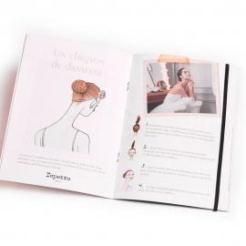 Brochure avec élastique, piqure noire & rivets