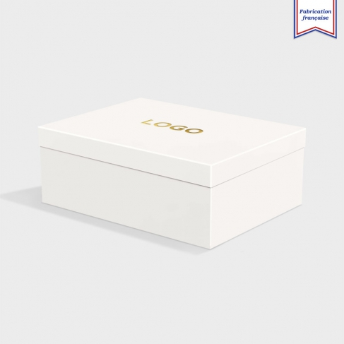 Boîte cloche Pristine White avec dorure